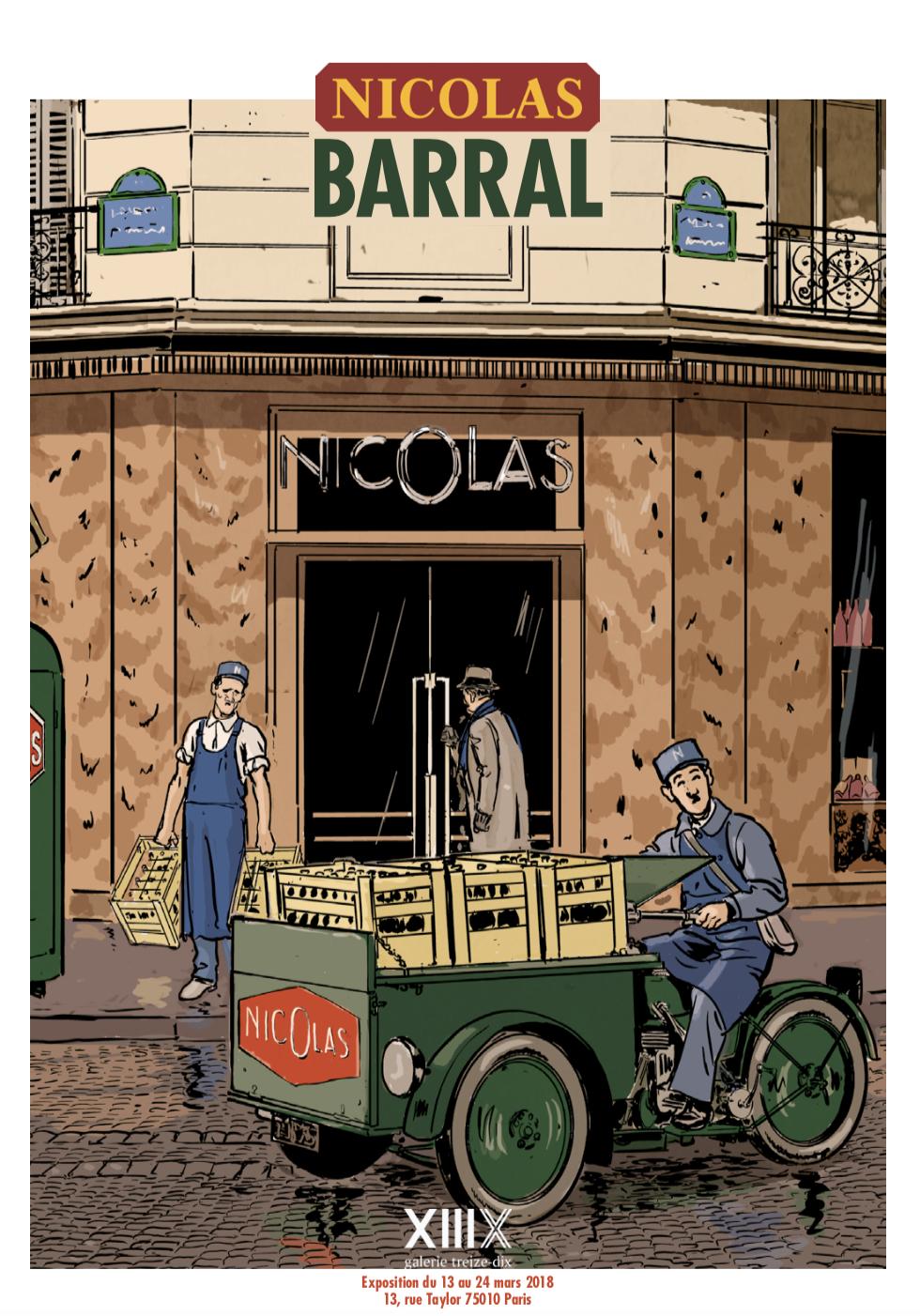 Exposition des dessins du catalogue vinothéque Nicolas intégralement illustré par Nicolas Barral | ==> Vernissage : 14 mars 2018 à 18h30  => Exposition du 13 au 24 mars 2018