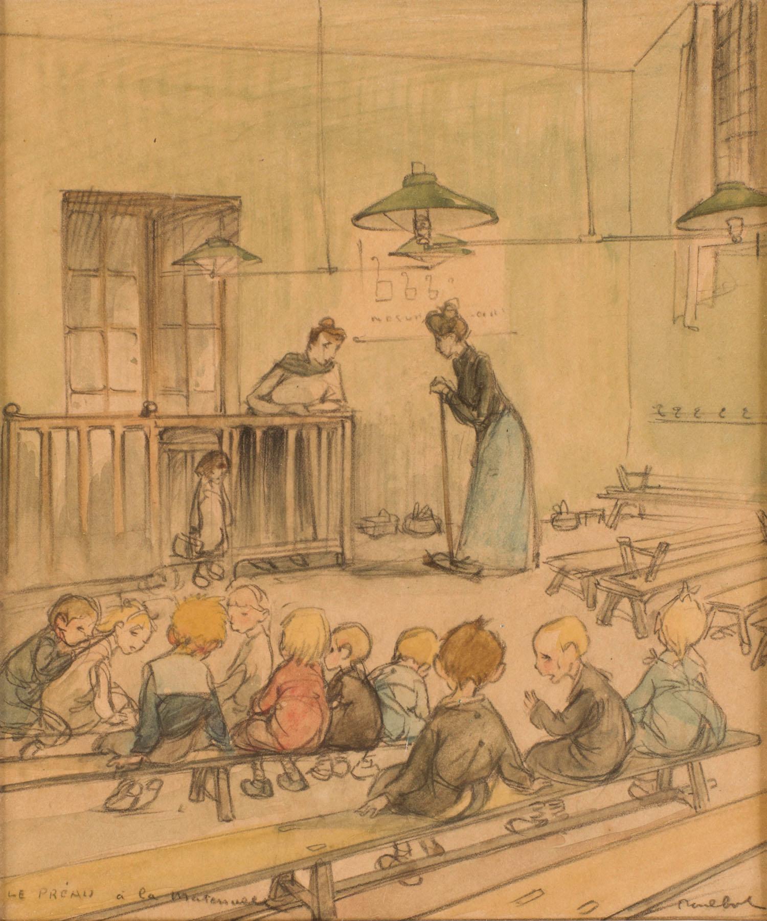 Francisque Poulbot | Francisque Poulbot | Le préau à la maternelle