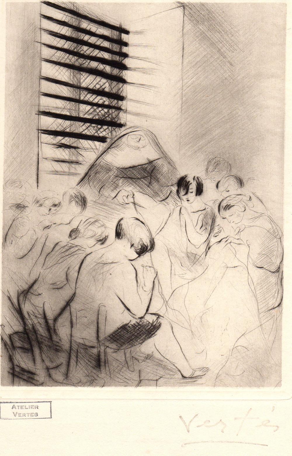 Prisonnières faisant des travaux de coutures | Prisonnières faisant des travaux de coutures | Marcel Vertès