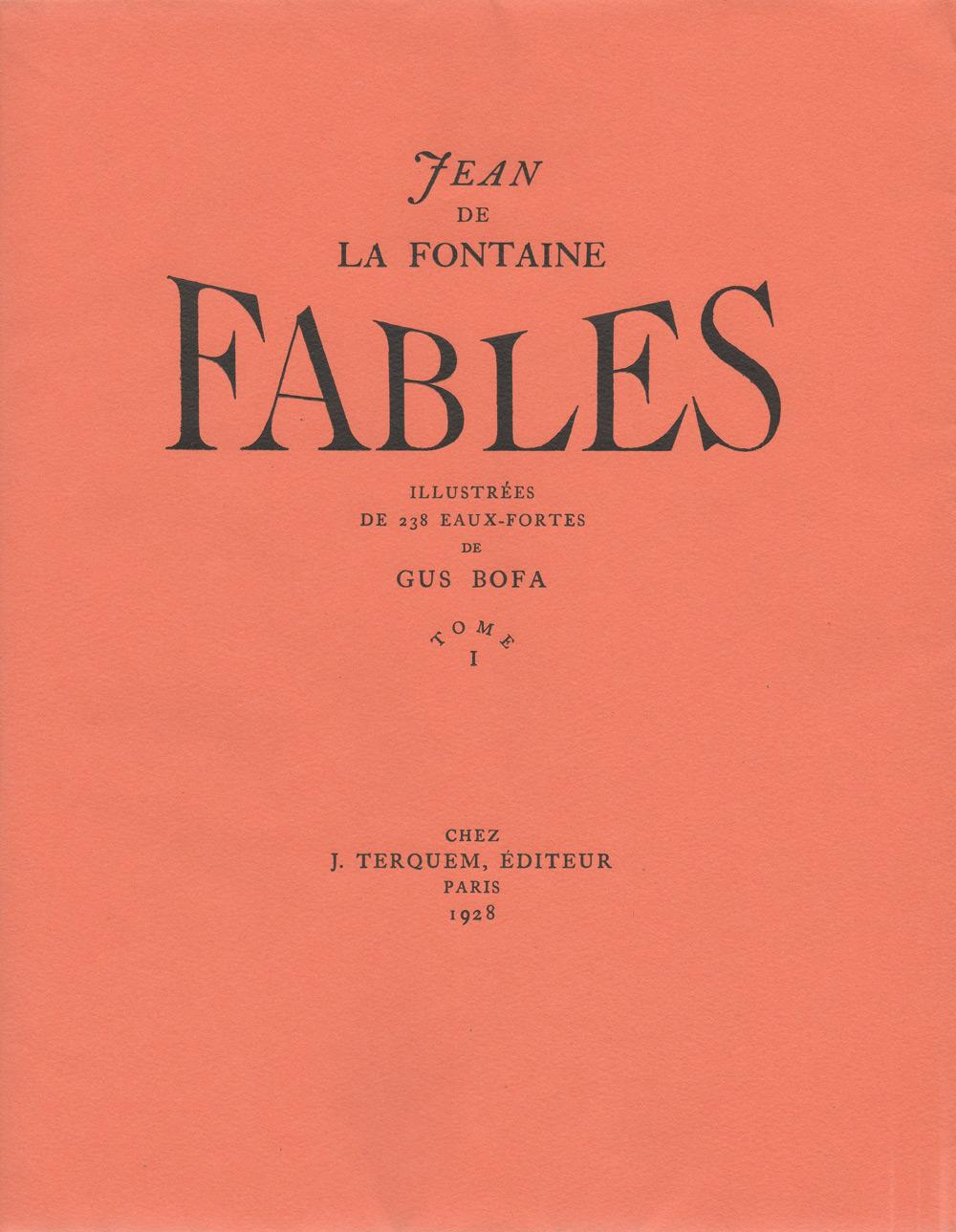 Couverture tome I | Fables De Lafontaine | Livre