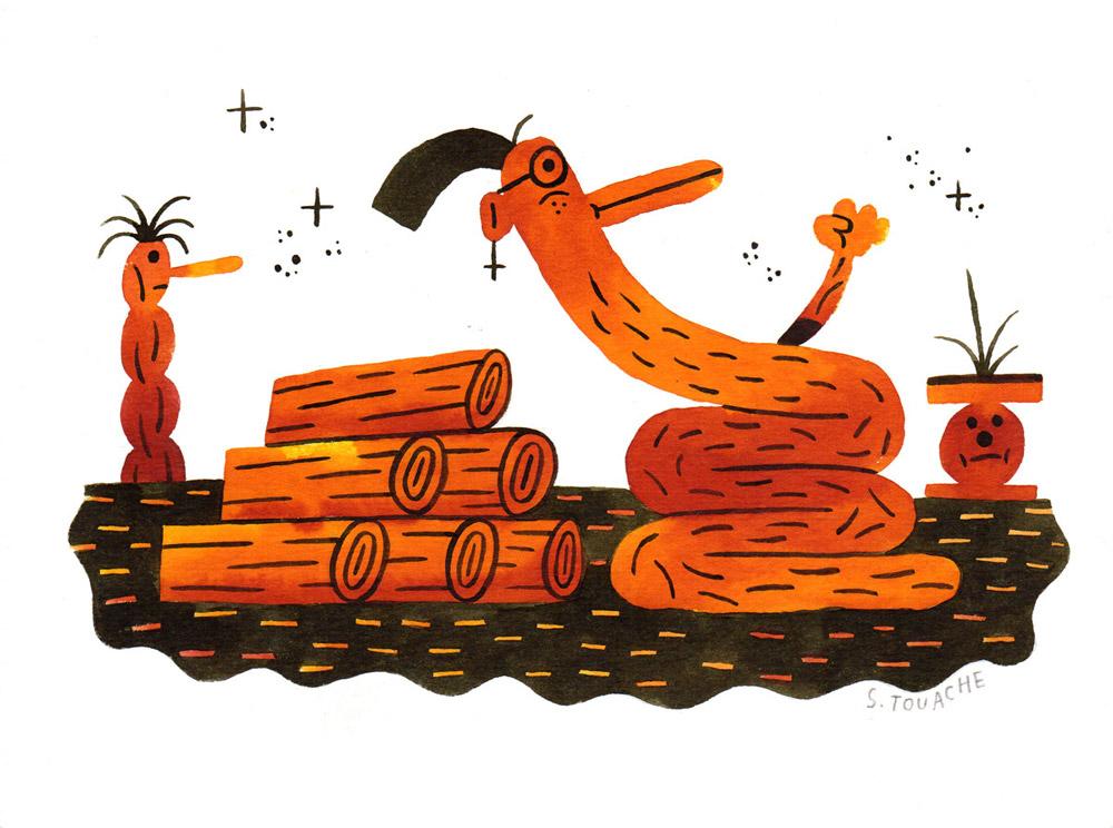 Wooden snake | Sebastien Touache - Les jeanclode | Wooden snake