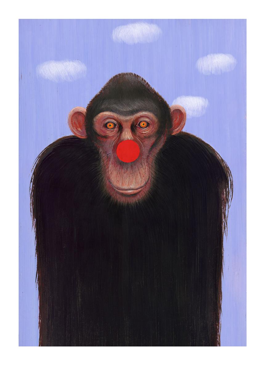 Image graphique réalisée pour l'affiche Animal de pub, Centre de l'affiche 2013 | Chimpanze |