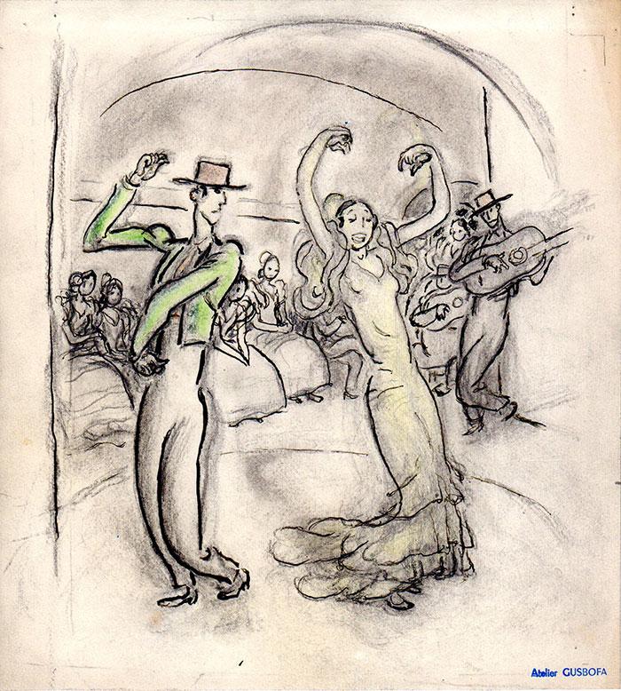 La danseuse | La danseuse flamenco | Gus Bofa