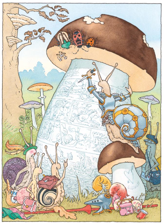 Gravure sur champignon | Gravure sur champignon - Le Chevalier de ventre à Terre | Gilles Bachelet