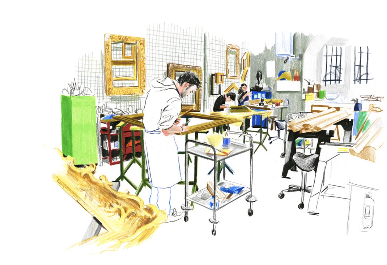 L'atelier d'encadrement et dorure | GALERIE TREIZE-DIX I LUCILE PIKETTY | L'atelier d'encadrement et dorure