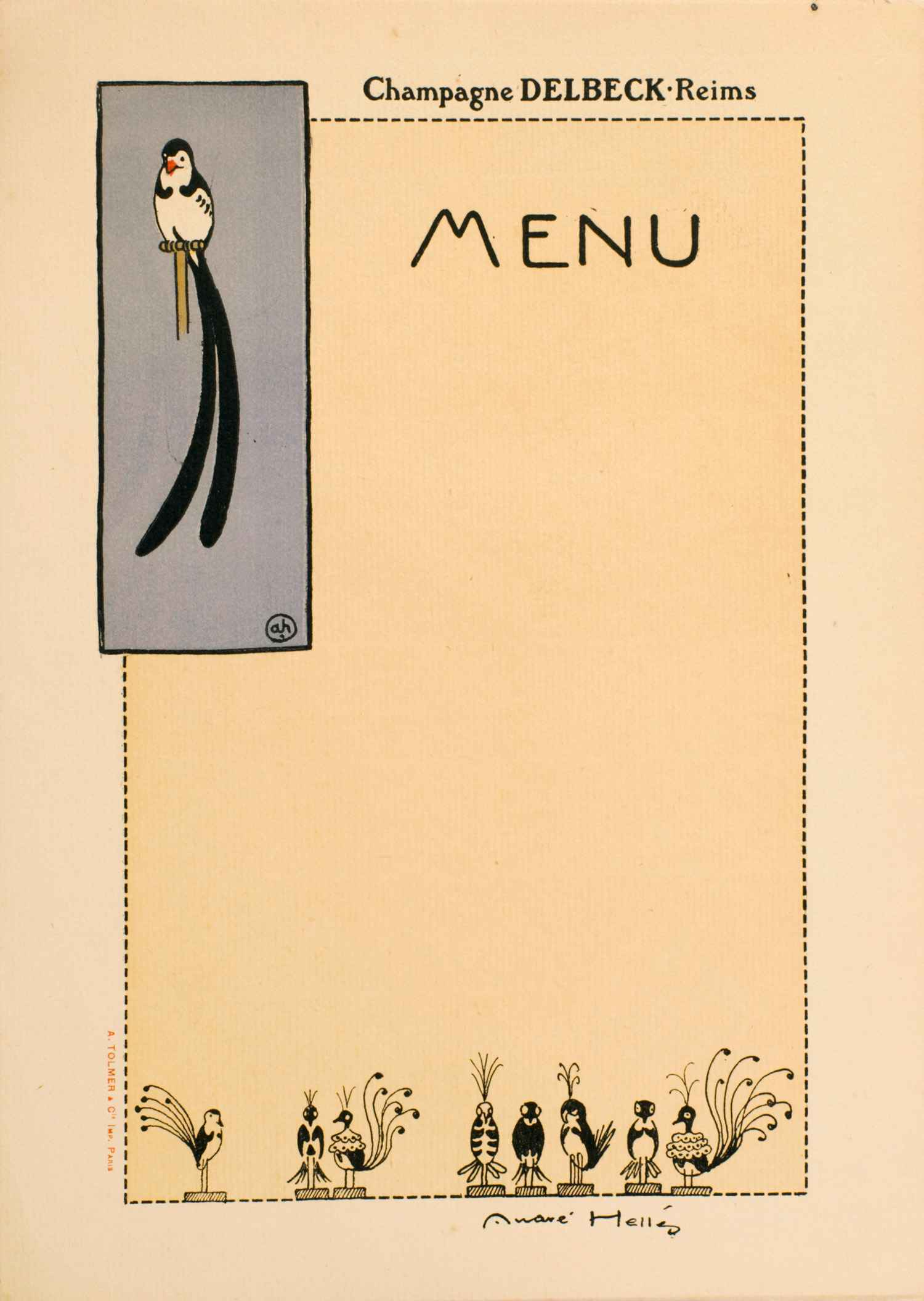 Menu 1 | André Hellé | Menu Illustré