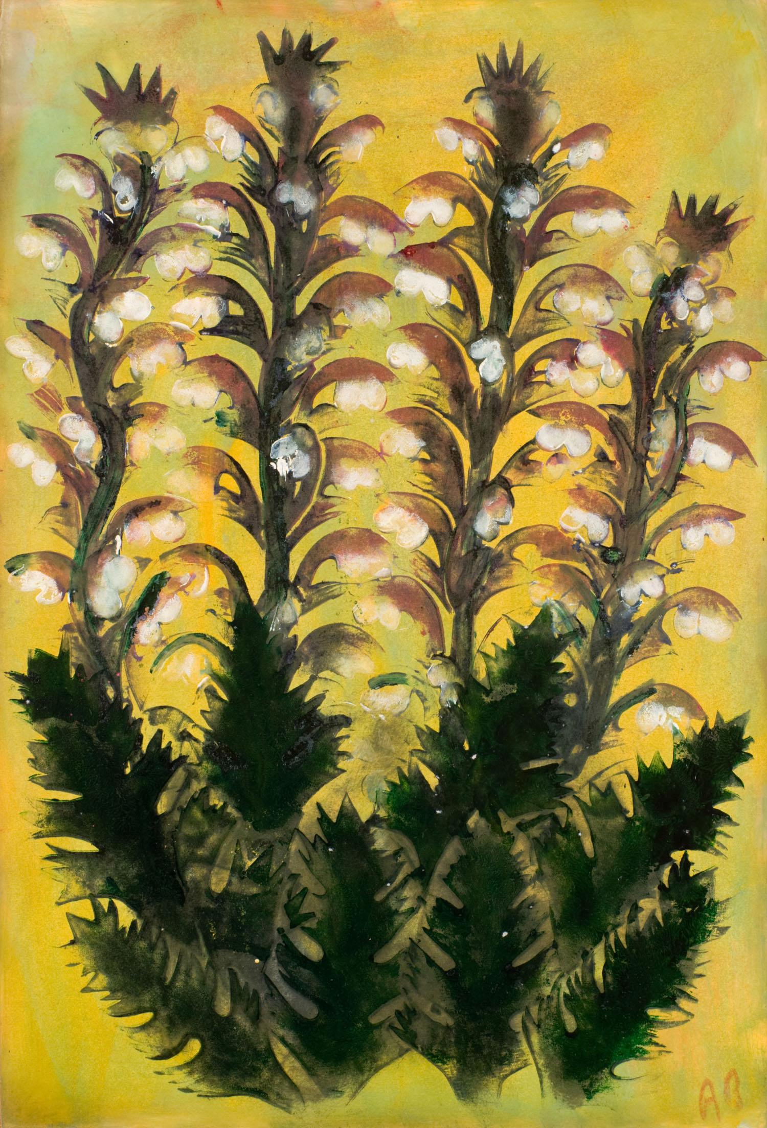 Fleurs sur fond jaune | Fleurs sur fond jaune | Atelier Ange Boaretto