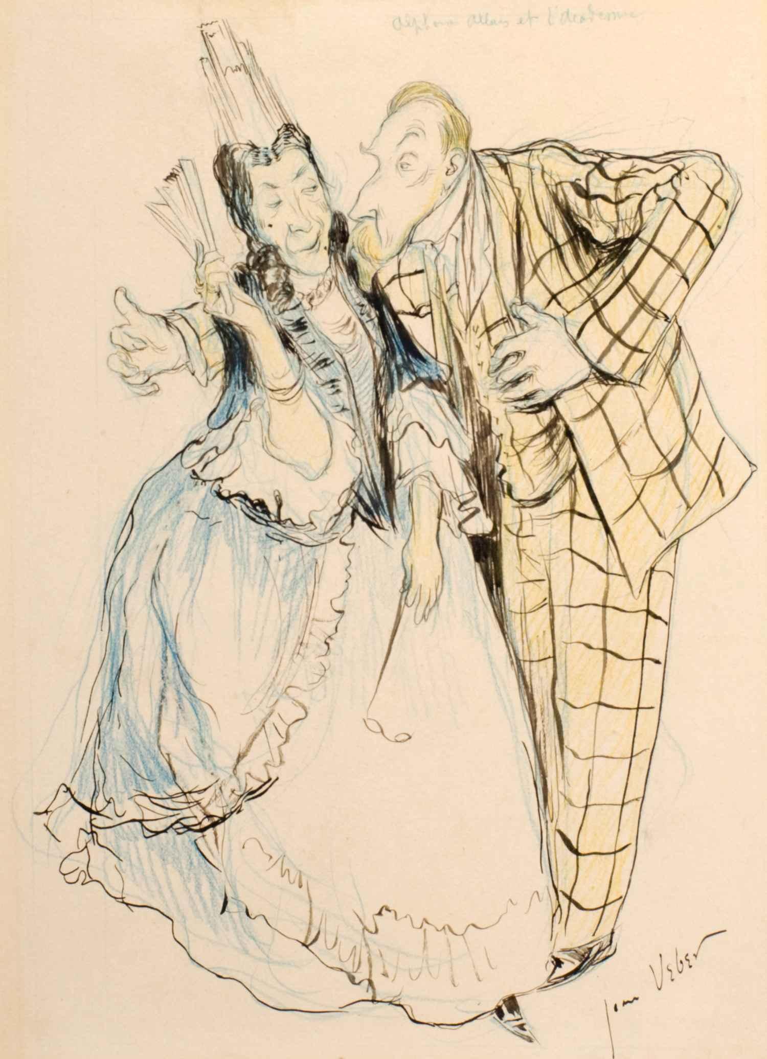 Caricature d'Alphonse Allais | Jean Veber | Caricature d'Alphonse Allais