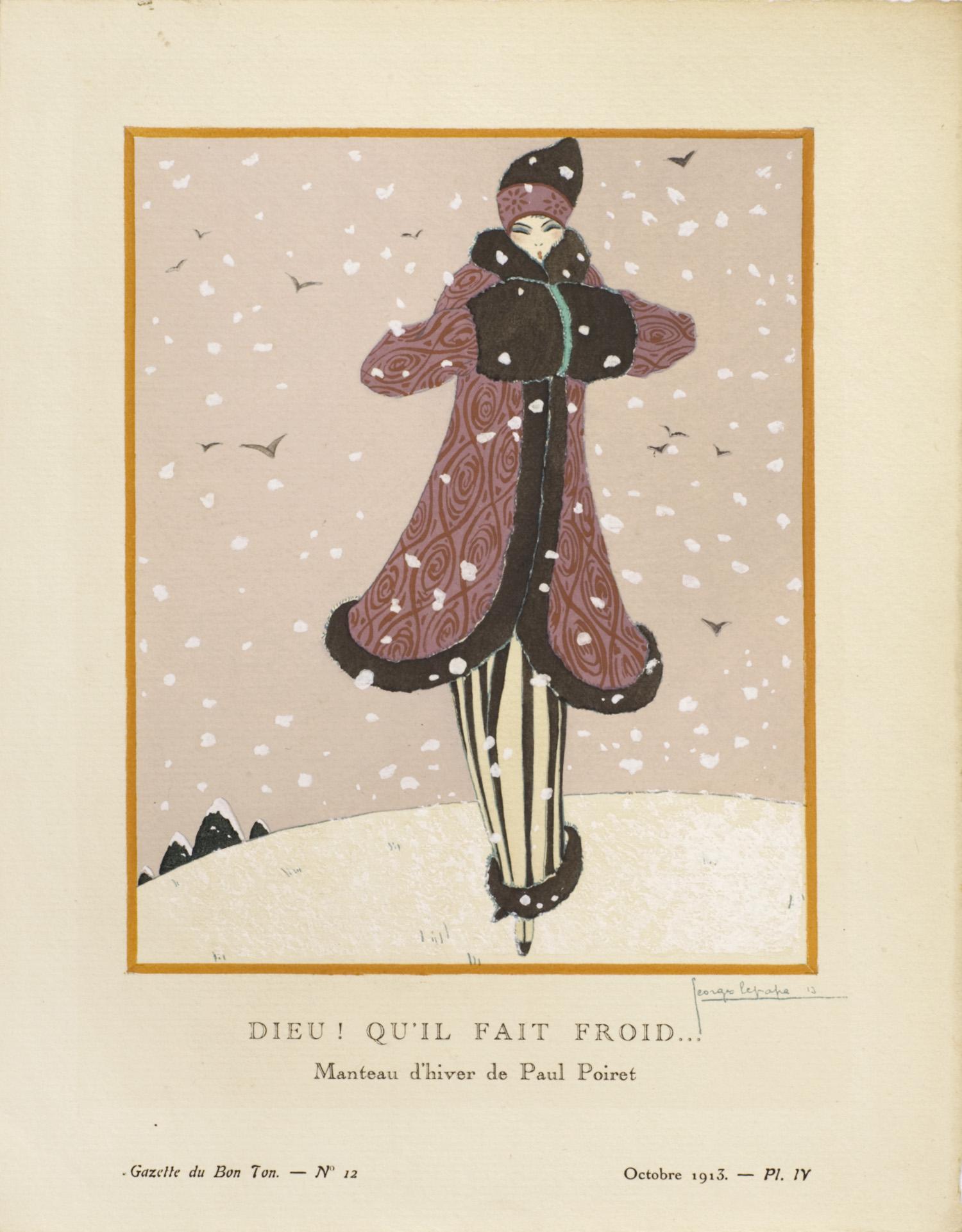 Dieu qu'il fait froid ! Manteau d'hiver de Paul Poiret | Georges Lepape | Gazette du Bon Ton