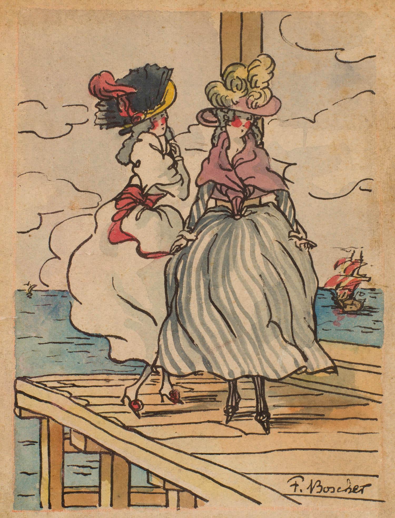 F. Boscher | F. Boscher | Deux élégantes sur un pont
