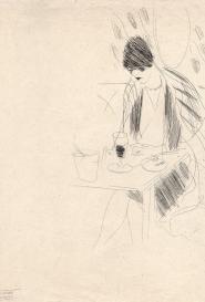 Dame au café Marcel Vertès