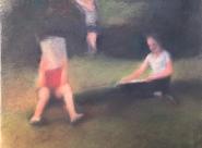 GALERIE TREIZE-DIX I AUTRE JE Anne Gorouben, Trois enfants dans un champ, la tortue est dans l'herbe
