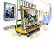 GALERIE TREIZE-DIX I LUCILE PIKETTY Réaccrochage d'un Mantegna dans la grande Galerie