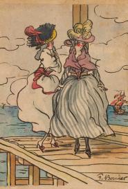 F. Boscher Deux élégantes sur un pont