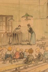Francisque Poulbot Le préau à la maternelle